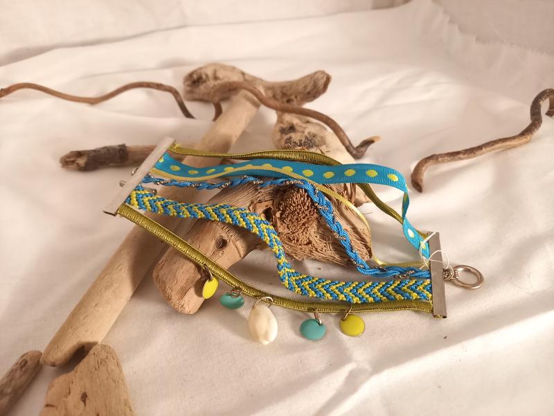 """Bracelet """"multi-rang bleu et vert"""""""