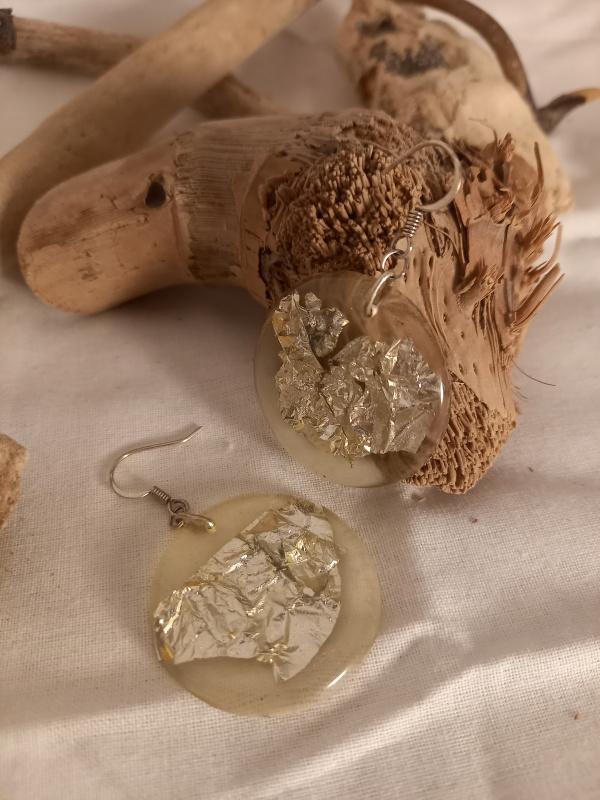 """Boucles d'oreilles """"feuilles d'argent"""""""