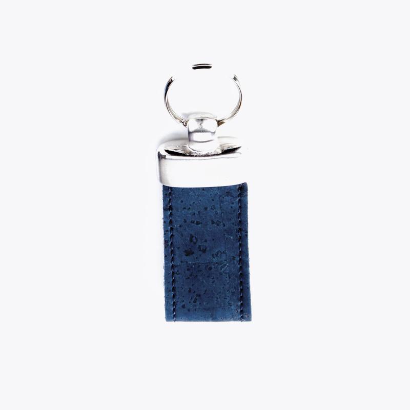Porte clef en liège bleu