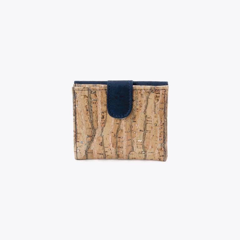 Petit portefeuille liège naturel doré et bleu
