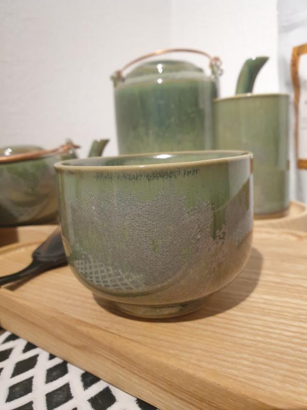 Bol à thé rond zaozam vert jade ( 14 diamètre 8.5 sur 7 de  hauteur)