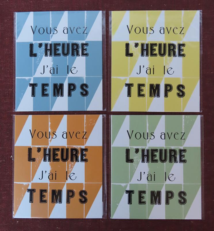 """Carte typo """"l'heure et le temps"""" (à l'unité)"""