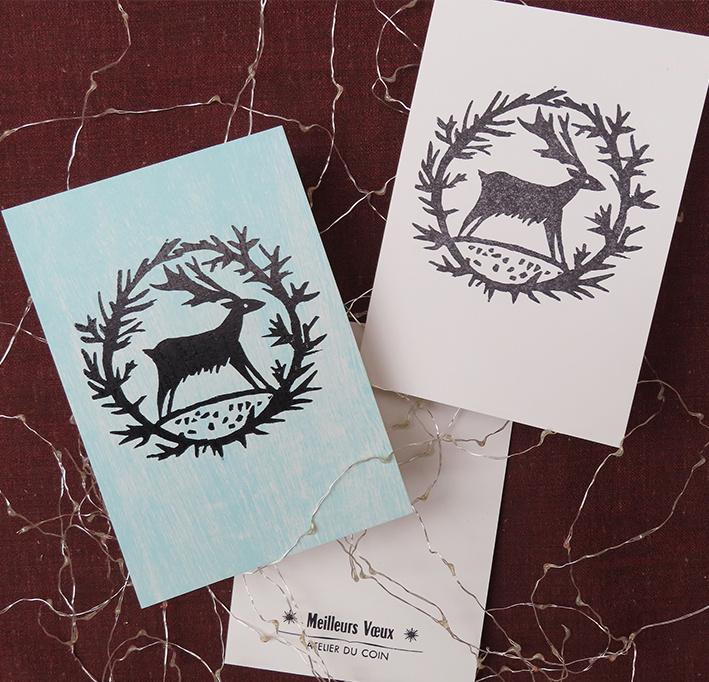 Carte de voeux cerf & couronne (à l'unité)