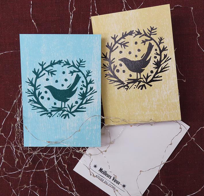 Carte de voeux oiseau & couronne (à l'unité)