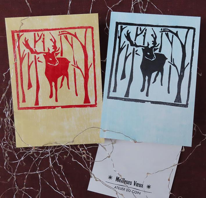 Carte de voeux renne & forêt (à l'unité)