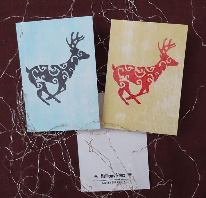 Carte de voeux renne au galop (à l'unité)