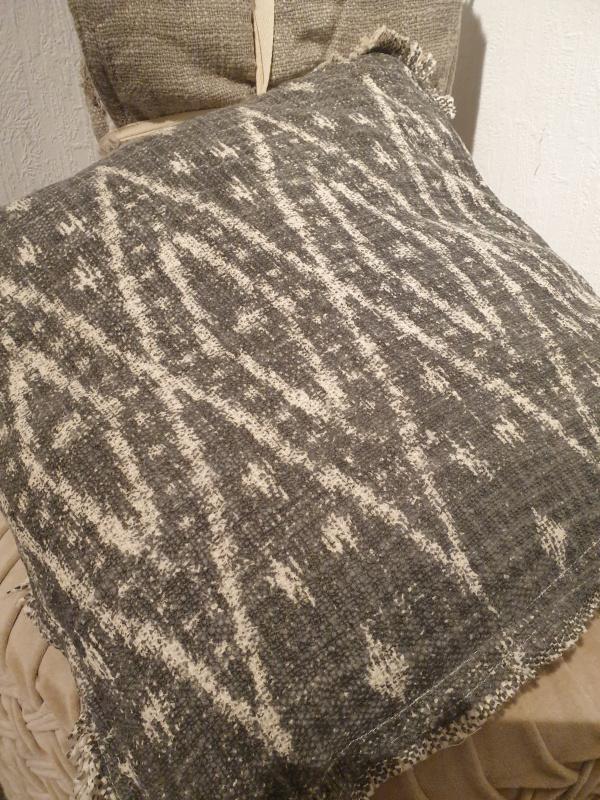 Coussin carré Atlas coton brut imprimé gris  COU220