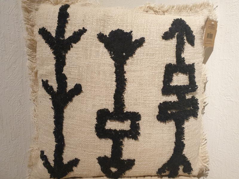 Coussin Tribal coton brut tufté écru  COU222