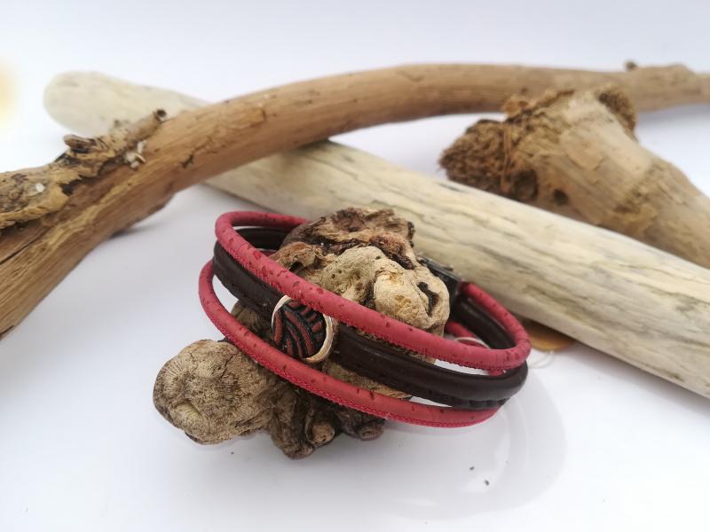 Bracelet 3 rangs rouge