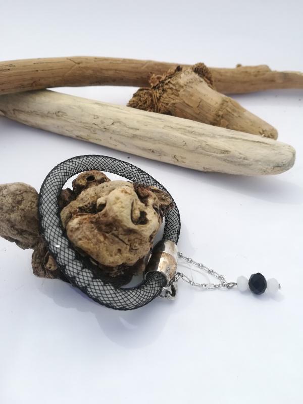 """Bracelet """"résille noir et blanc"""""""