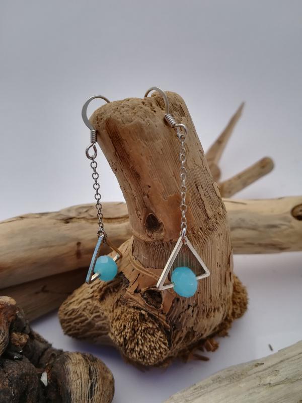 "Boucles d'oreilles ""triangle bleu"""