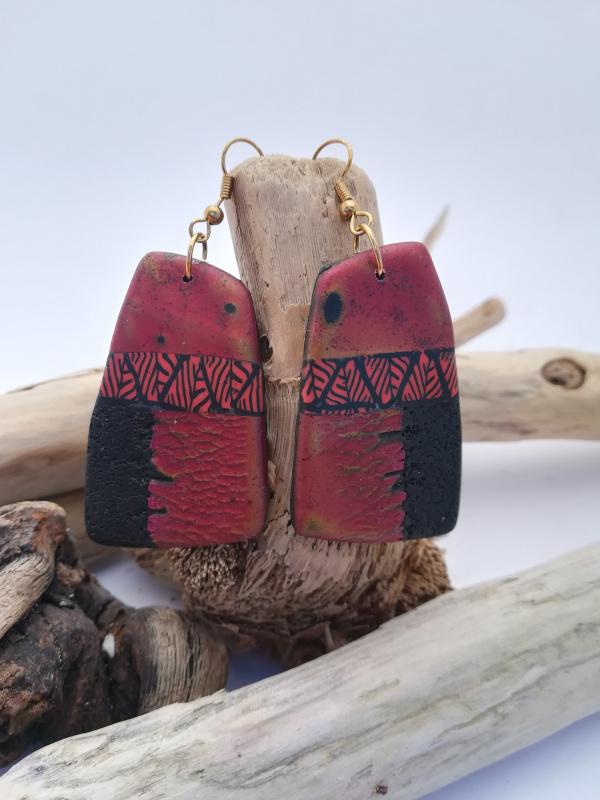 "Boucles d'oreilles ""feuilles de raku rouge"""