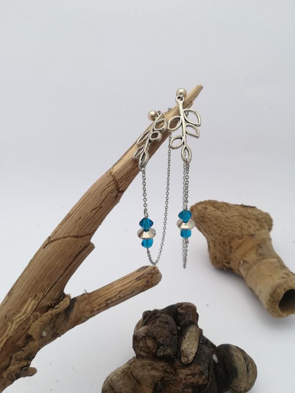 "Boucles d'oreilles ""branches bleu"""