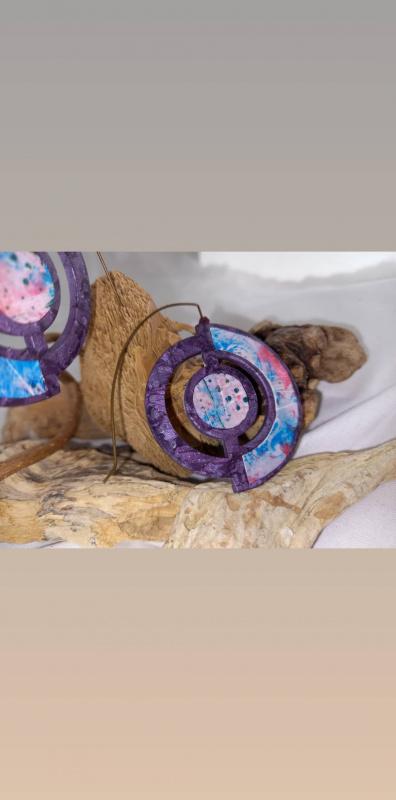 """Boucles d'oreilles """"voyage extraordinaire"""" violettes"""