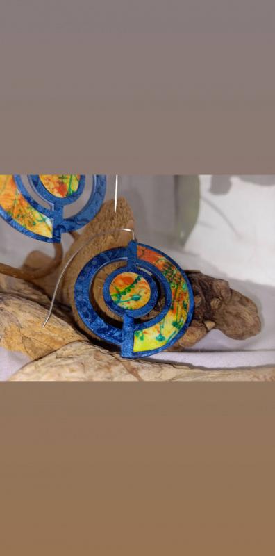 """Boucles d'oreille """"voyage extraordinaire"""" Bleu"""