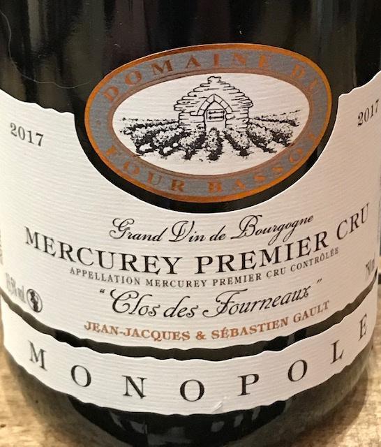 """Mercurey 1er cru 2017 """"Clos des Fourneaux"""" MONOPOLE - 75cl"""
