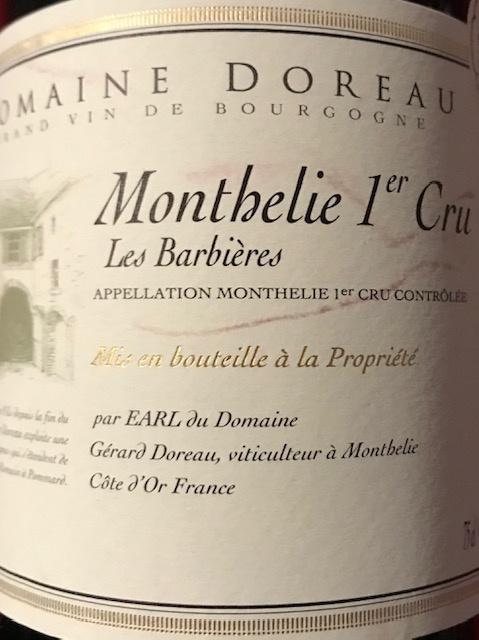 """Monthélie 1 er Cru """"Les Barbières"""" 2017  75 cl"""