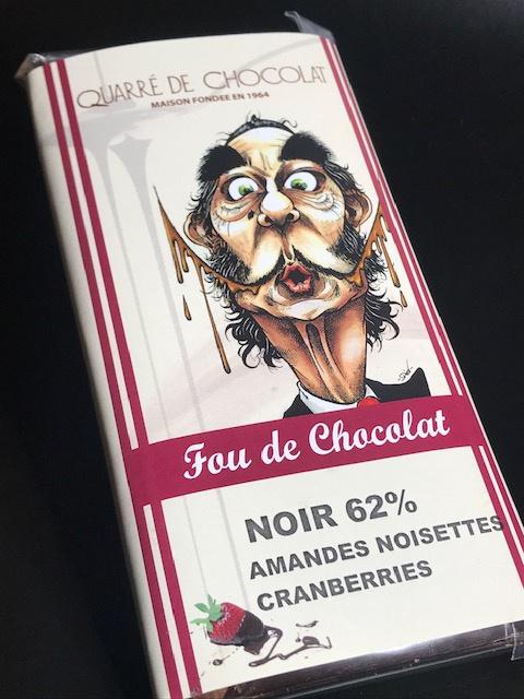Tablette Chocolat Noir 62 %  Amandes, Noisettes, Cranberries - 80 gr