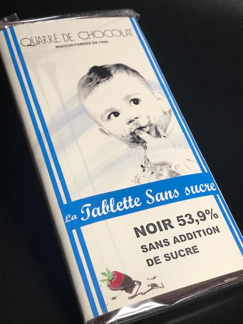 Tablette Chocolat Noir 53.6 %  Sans Sucre  - 80 gr