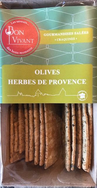 Craquines Olives et Herbes de Provence - Barquette 80 gr