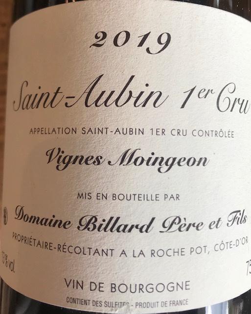 "Saint Aubin 1er Cru "" Vignes Moingeon "" 2019 - 75 cl"