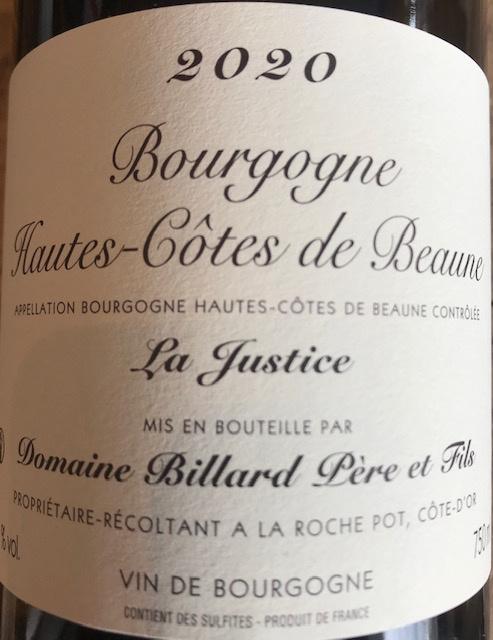 Hautes Cotes de Beaune « La Justice » 2020 - 75cl