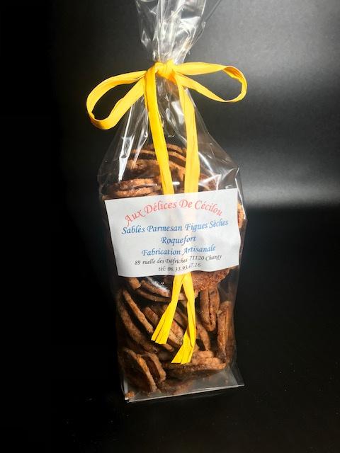 Sablés salés Parmesan Roquefort et Figues - Sachet de 200 gr