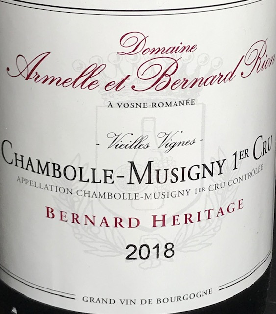 "Chambolle Musigny 1 er Cru "" Bernard Héritage "" 2018 - 75 cl"