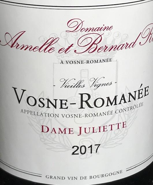"""Vosne Romanée """" Dame Juliette """" - 2017 - 75 cl"""