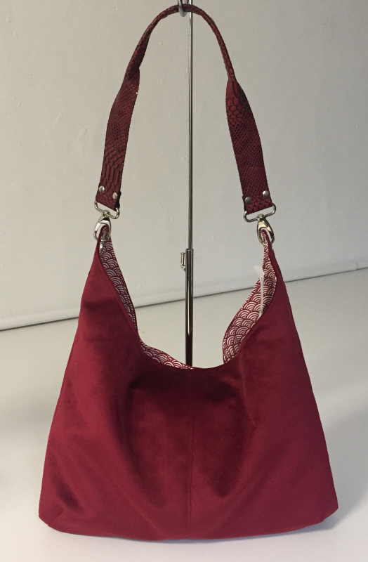 SAC OSLO VELOURS ROUGE