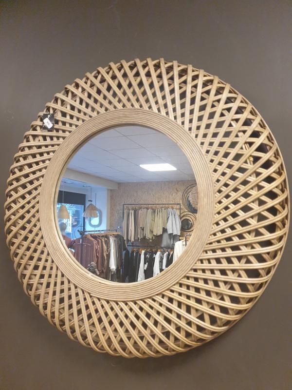Miroir rond bambou grand modèle