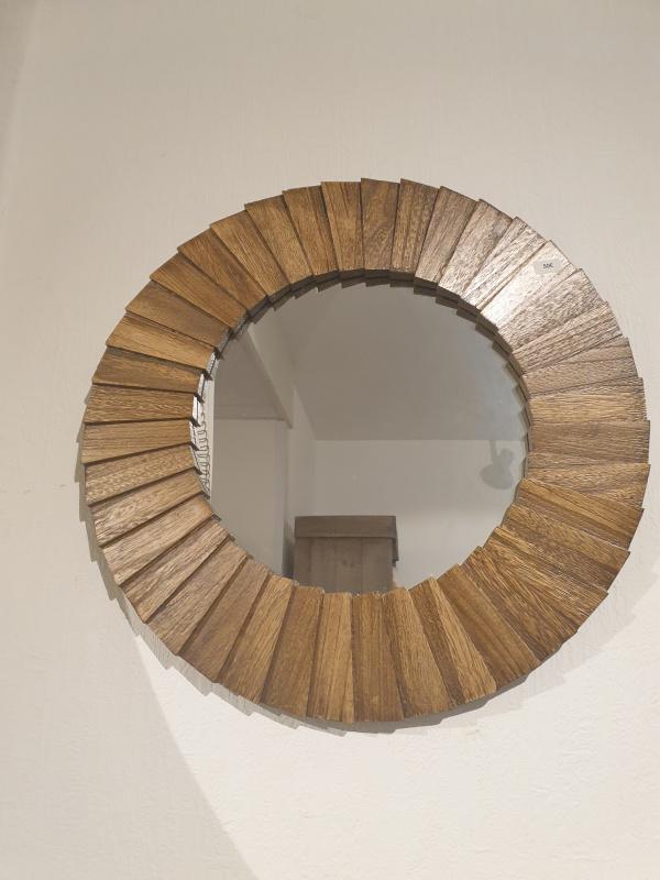 Miroir rond bois nature