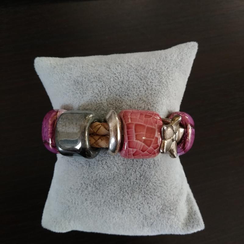 Bracelet en liège perle céramique