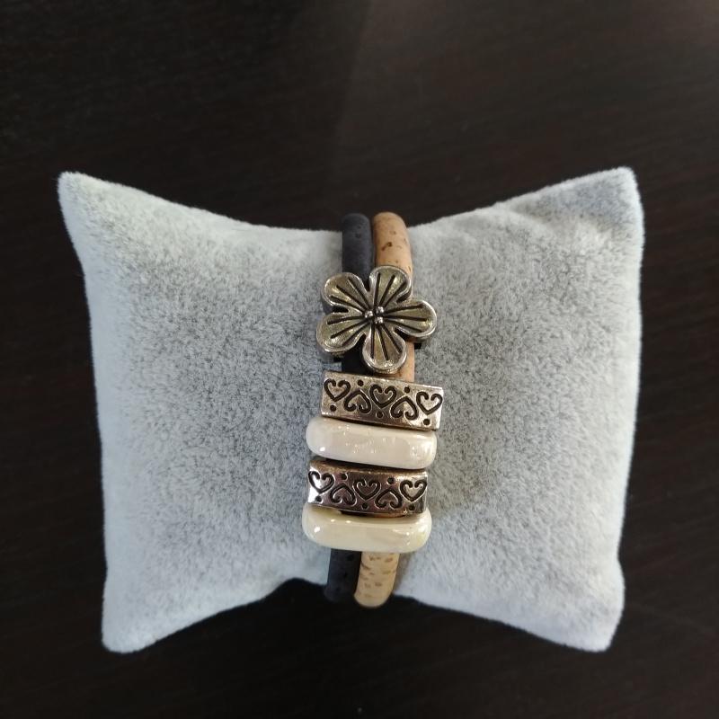 Bracelet en liège naturel et noir fleur