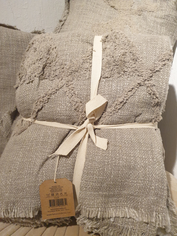 Plaid Hoggar coton brut tufté doublé sherpa gris PLD259