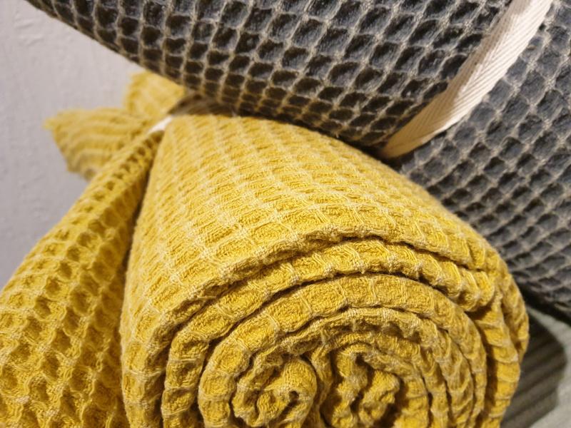 Plaid coton nid d'abeille