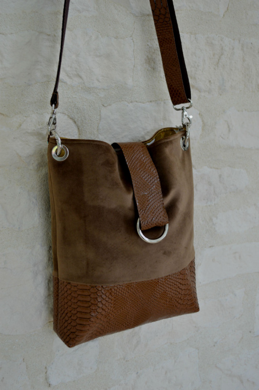 "SAC ""SANTORIN""VELOURS MARRON"