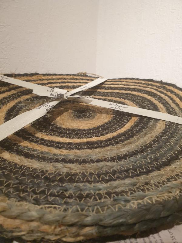 Set de table rond jute : terracotta, ocre, indigo/naturel