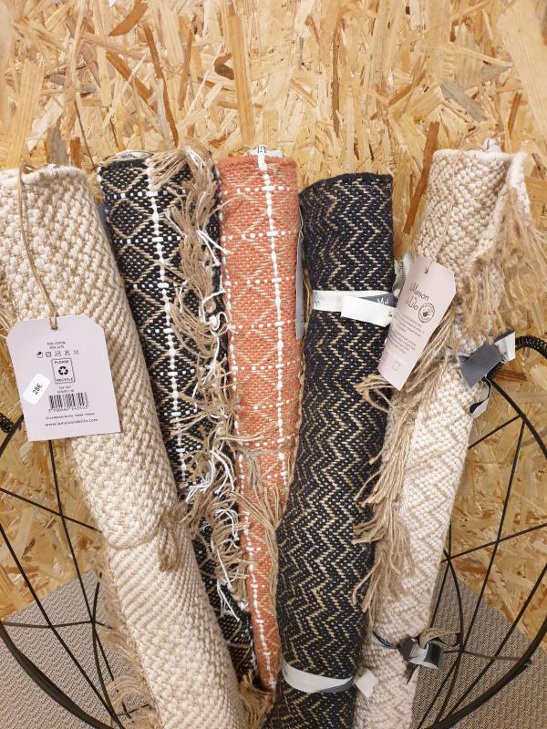 Tapis jute coton terracotta/naturel 60 par 90 TAP055