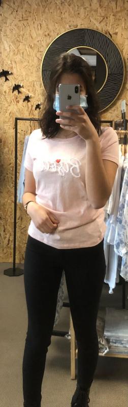 """T-shirt rose """"Bisou"""" femme"""