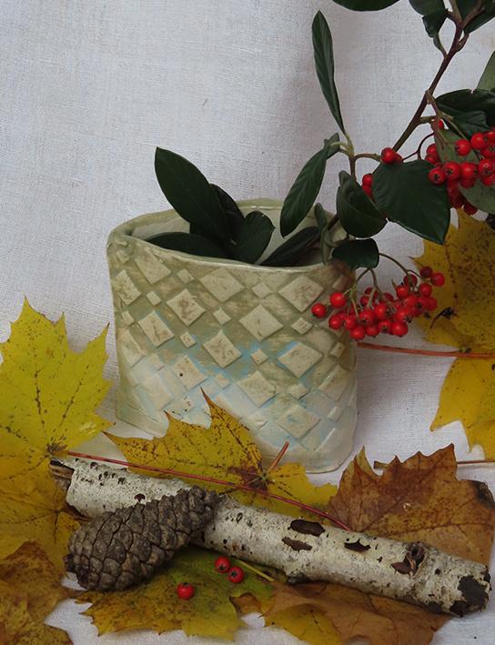 Vase goutte losanges verts
