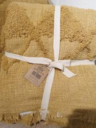 Plaid Hoggar coton brut tufté doublé safran  PLD260