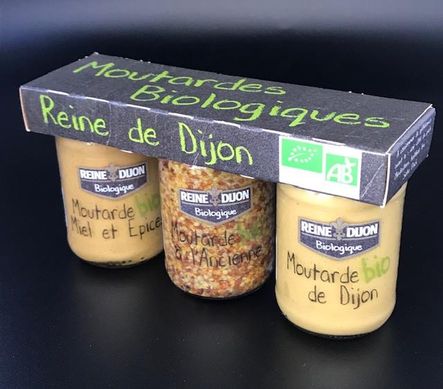 Clip 3 flacons (Dijon 100g, Grains 90g, Miel épices 100g)
